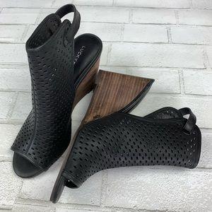 NEW Lucky Brand Rosina Black Peep Toe Buckle Wedge
